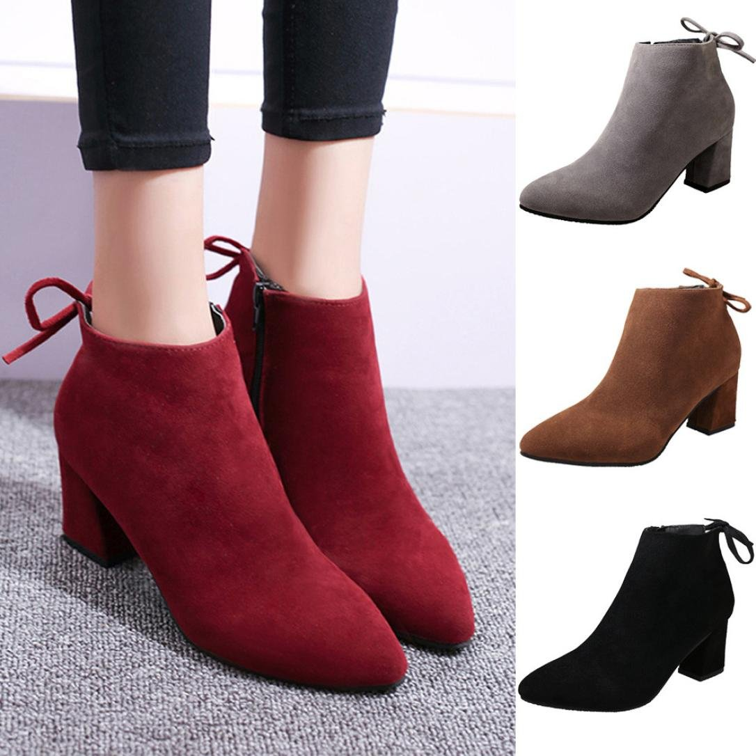 Gotd Women Boots Square Heel Lace Up Ankle Boots Martin High Heels Platform Boots (US:7, Wine) Goodtrade8
