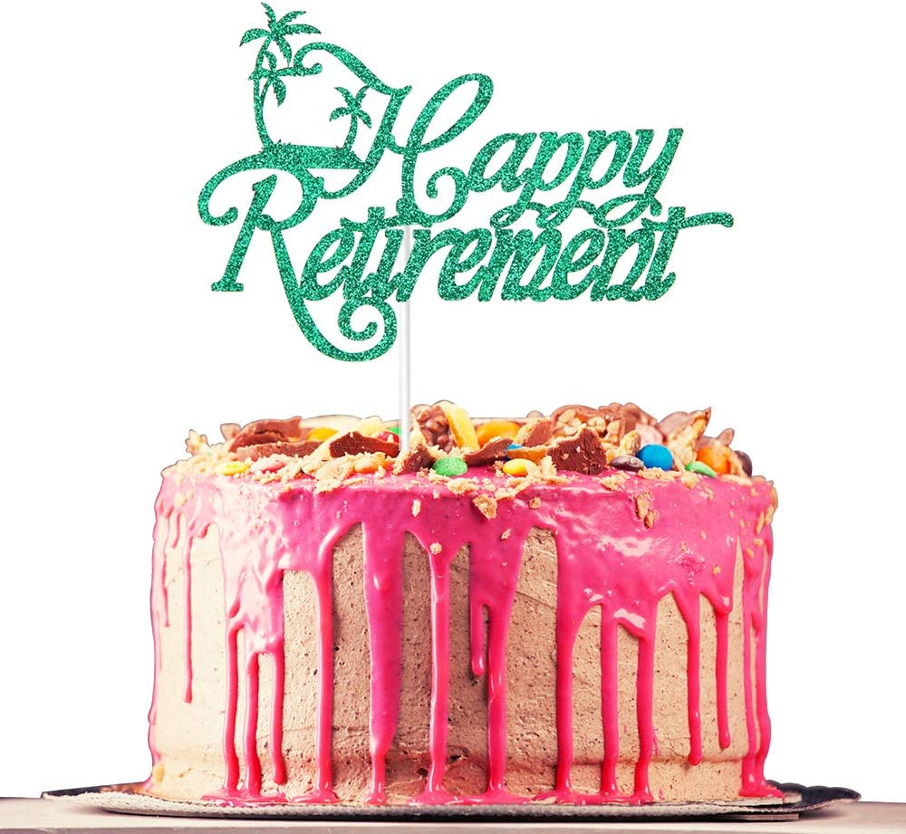Happy Retirement Cake Topper Farewell Officially Retirement The Legend Has Retired Green Glitter Retirement Party Decoration Supplies