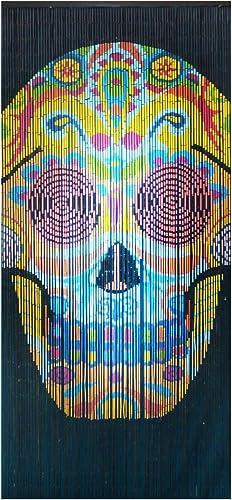 BeadedString Natural Bamboo Wood Beaded Curtain-90 Strands-80in High-Boho Door Beads-Bohemian Doorway Curtain-35.5 Wx80 H-Skull