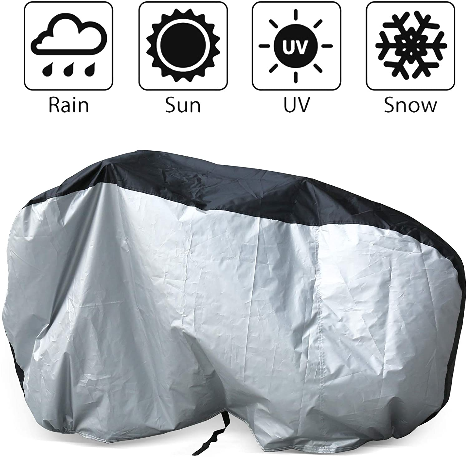 Cymax Bike Cover Heavy Duty Waterproof Bicycle Cover Dust Rain Snow Cover with