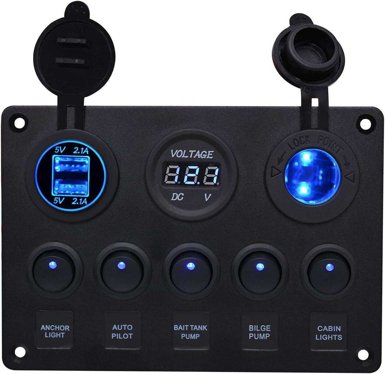 Fornorm 5 Gang 12v 24v Auto Boot Marine Wippenschalter On Off Schalter Panel Kippschalter Mit 5v 2 1a Dual Usb Ladegerät Digitale Voltmeter Zigarettenanzünder Sockel Blau Led Auto