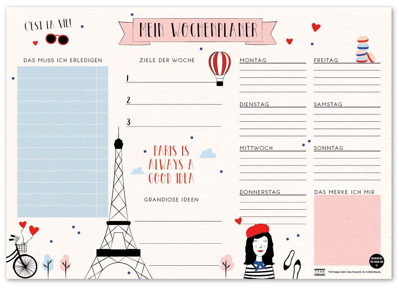 Tischunterlage aus Papier zum Abrei/ßen DIN A3 to Do Liste Notizblock Wochenplaner Design w/ählbar TYSK Design Schreibtischunterlage Flamingo gr/ün