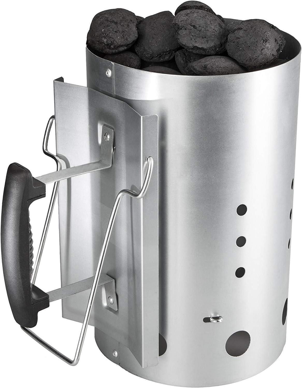 Bruzzzler Chimenea de encendido, encendedor de carbón de barbacoa, con mango de seguridad de plástico y asa abatible, Plata, 31x19,5x30,5 cm, 200100001066