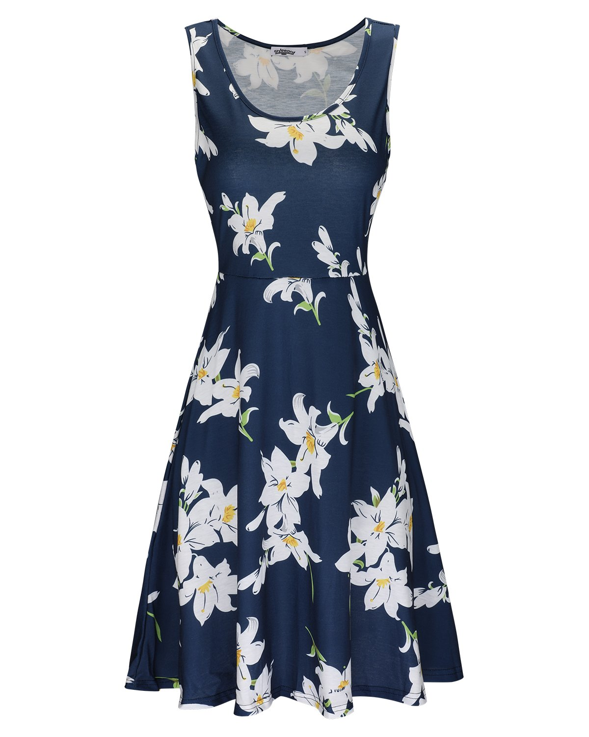 STYLEWORD Women's Sleeveless Summer Casual Floral Dress(Floral001,XXL)