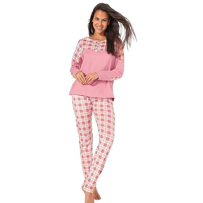 VENCA Pijama Camiseta de Escote Redondeado con Tapeta de Botones by Vencastyle,Rosa Cuadros,