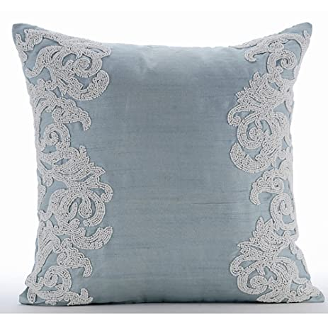 Amazon Luxury Light Blue Throw Pillows Cover Beaded Boroque Custom Light Blue Throw Pillow Covers
