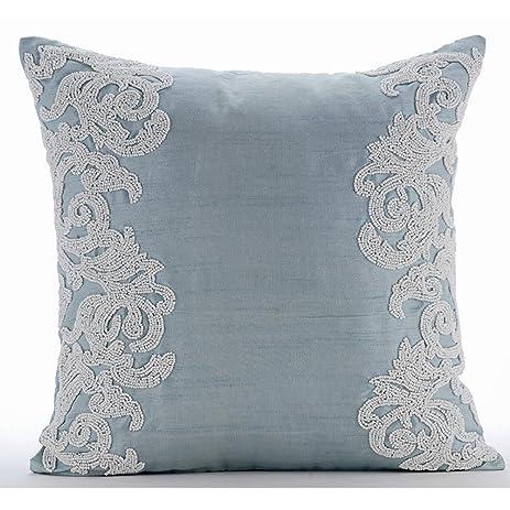 light blue throw pillows Amazon.com: Luxury Light Blue Throw Pillows Cover, Beaded Boroque  light blue throw pillows