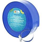 "U.S. Pool Supply 1-1/2"" x 50' Heavy Duty Blue PVC Swimming Pool Backwash Hose with Hose Clamp"
