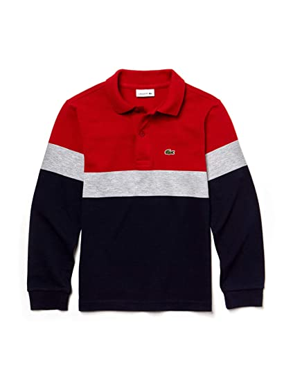 999a7143d1813 Lacoste Boys Colorblock Kids  Polo T-Shirt Navy in Size 4 Years (104 cm)   Amazon.co.uk  Clothing