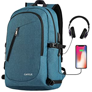Laptop Backpack,Travel Computer Backpacks for Women & Men,Anti Theft Water Resistant College Student School Bookbag,Slim Business Backpack w/USB Charging Port Fits up to15.6 Inch Laptop Notebook Blue