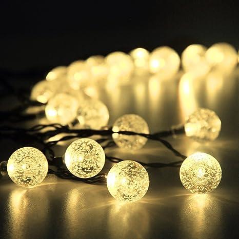 87afc3b15806b Innoo Tech 30 LED 4.5M Luz Solar Gurinaldas Luminosas Blanco Cálido Bolas  de Cristal Para