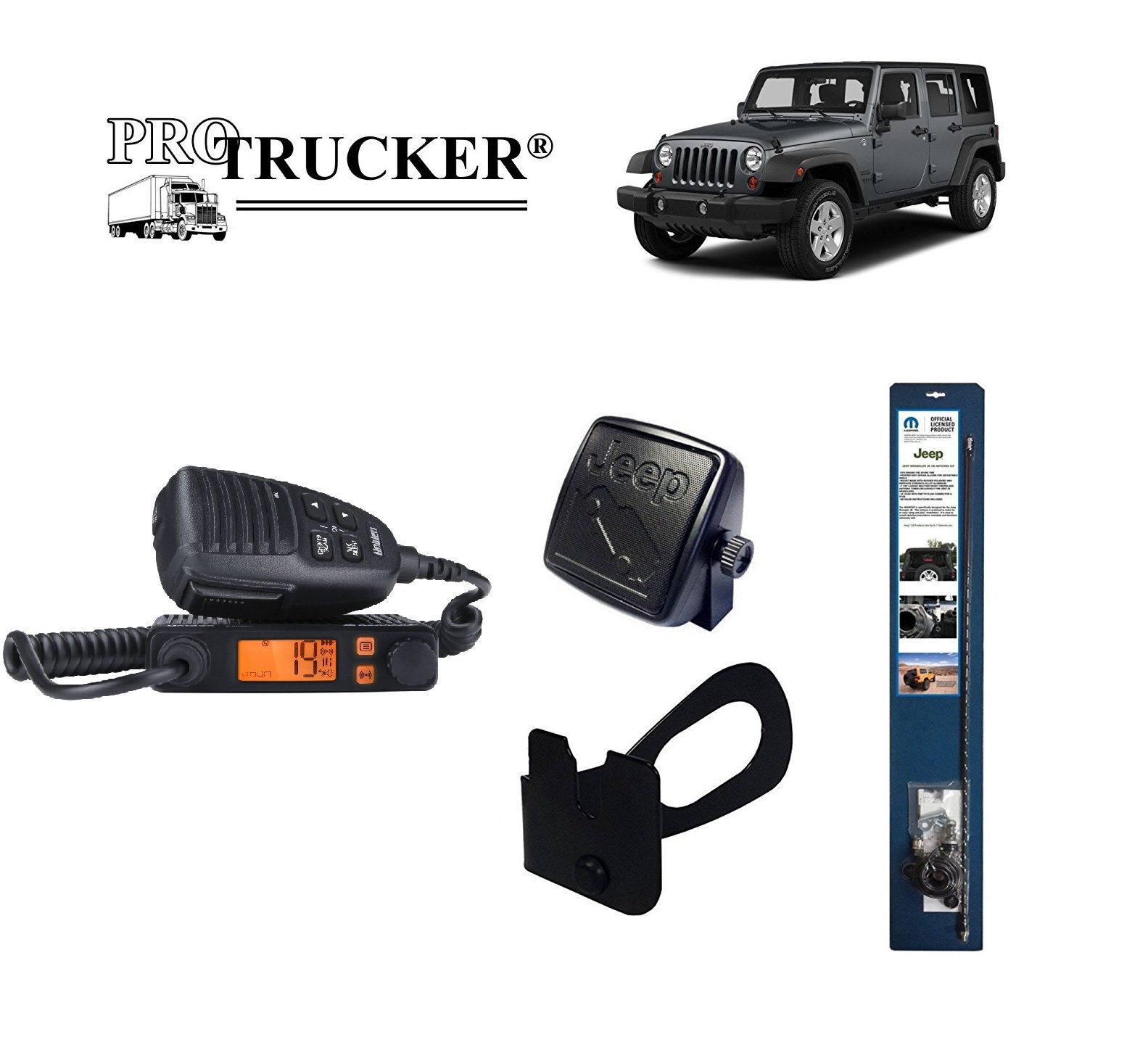 Pro Trucker 2007-Present Jeep JK CB Radio Complete Kit with Handheld CB Radio, 3' Mopar Antenna, Mount, Coax, Speaker, and Grab Bar Mount by Pro Trucker