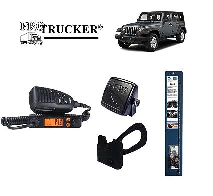 Pro Trucker 2007-Present Jeep JK CB Radio Complete Kit with Handheld CB  Radio, 3' Mopar Antenna, Mount, Coax, Speaker, and Grab Bar Mount