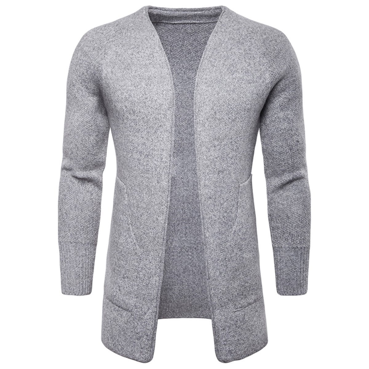 AOWOFS Mens Cardigan Long Knit Sweater Open-Front Solid Color Buckleless Large Pocket