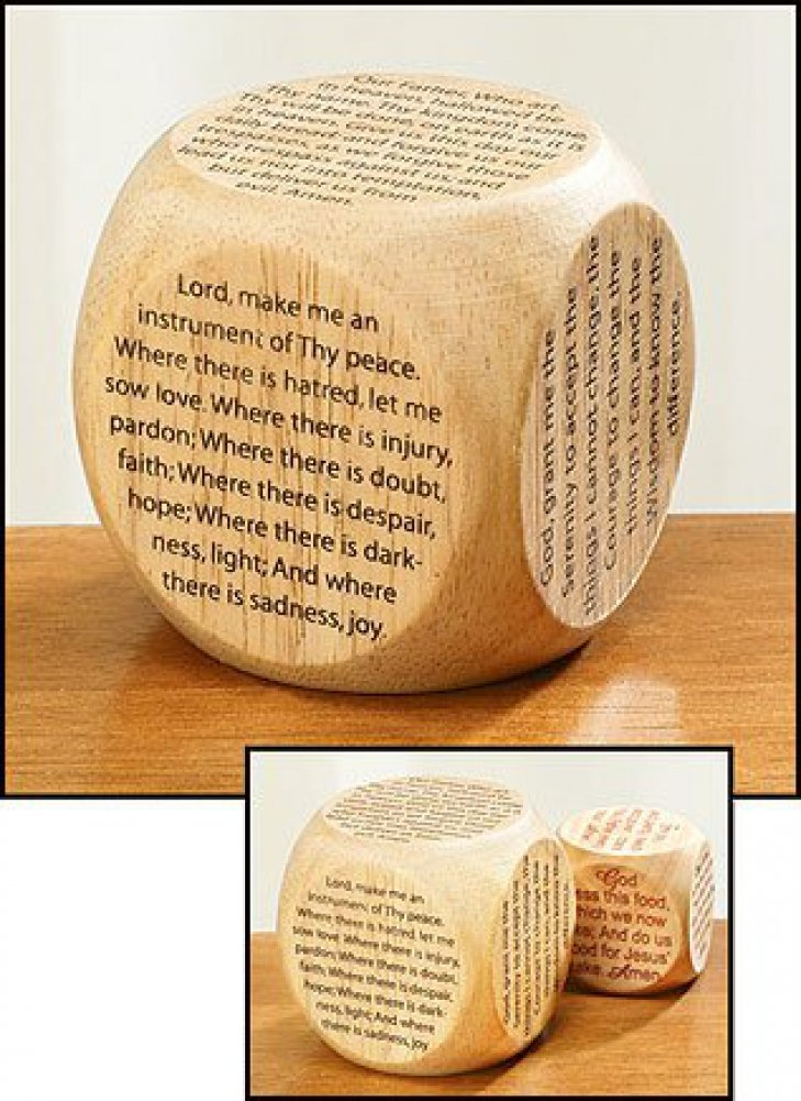 Youth Childrens Catholic Gift Learning Toy Large 2 1 4 Wood Original Our Father Prayer Cube