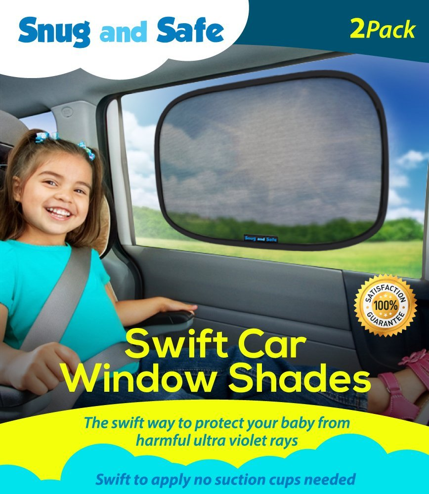 Car Sun Shade (2 Pack) - Black Sunshade Visor Set for Babies & Kids - Clings To a Rear Side Window And Covers Your Baby Or Toddler - Shades Block 98% Of UV Heat Rays Glare In Cars - LIFETIME WARRANTY Snug And Safe