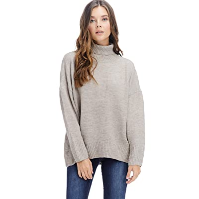 Alexander + David Womens Sweater Pullover Turtleneck Top - Warm Mock Neck (Beige, Large) at Women's Clothing store