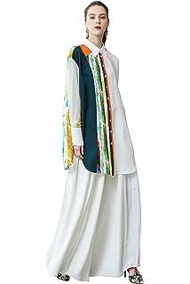 66e94d87 VOA Women's Contrast Color Long Sleeve Polo Collar Asymmetric Long Blouse T- Shirt Tops B376
