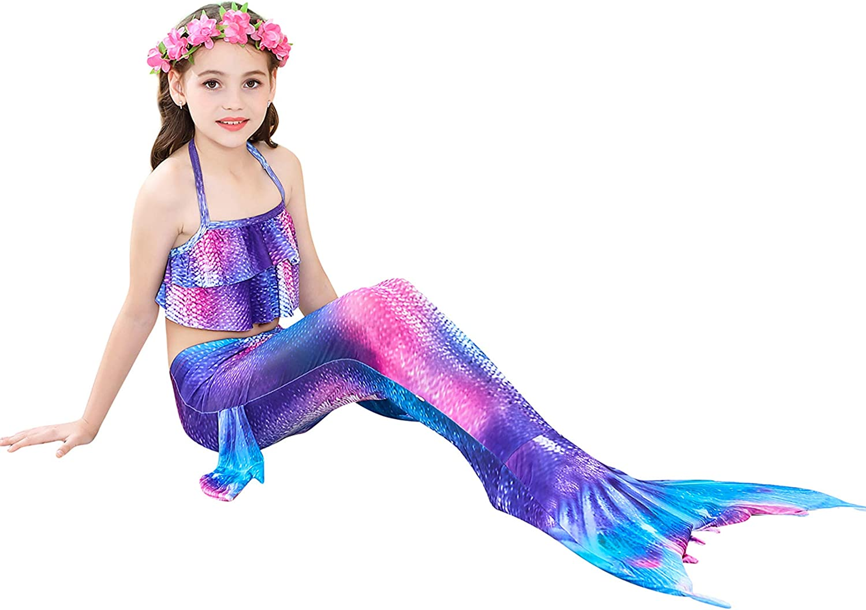 Girls 4 Pcs Swimsuit Mermaid Tails for Swimming Princess Mermaid Costume Bikini Set for 3-12Y