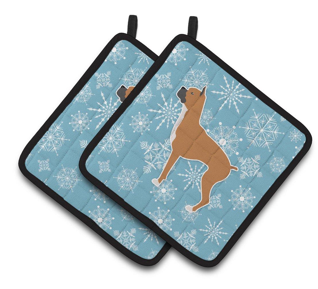 Multicolor 7.5HX7.5W Carolines Treasures Winter Snowflake Boxer Pair of Pot Holders BB3553PTHD