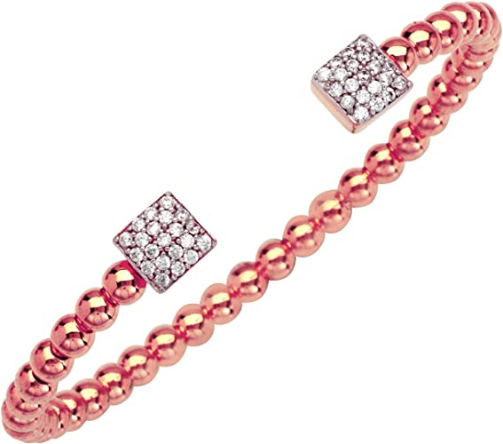 Sterling Silver Fancy Beaded 3 Square CZ Station Bangle