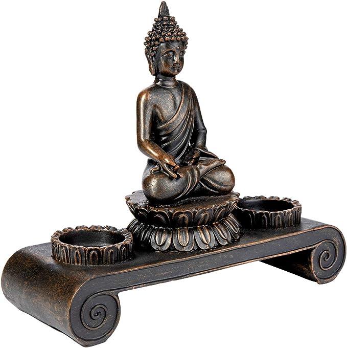Leuchter Teelichthalter Skulptur Balance schwarz 18 cm