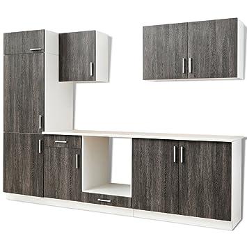 7 Pcs Wenge Look Kitchen Cabinet Unit For Built In Fridge Amazon Co