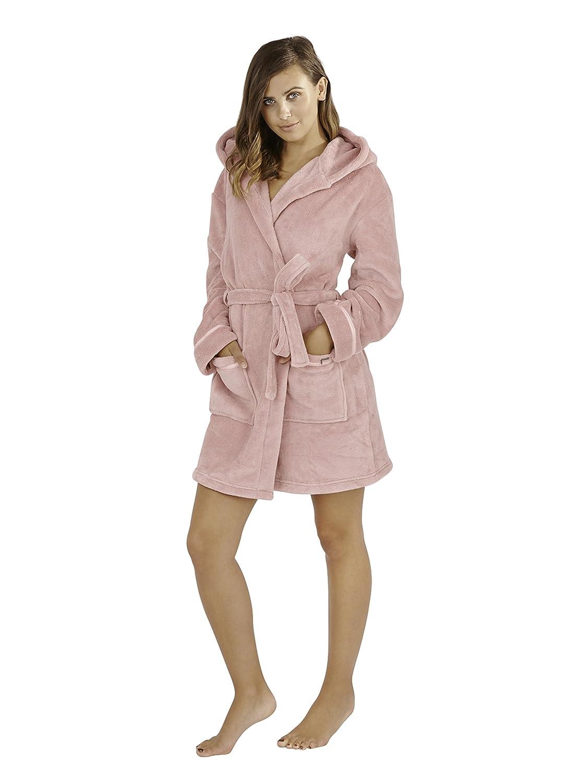e98d087379 Womens Luxury Corel Soft Snuggle Hooded Short Bath Robe Dressing ...