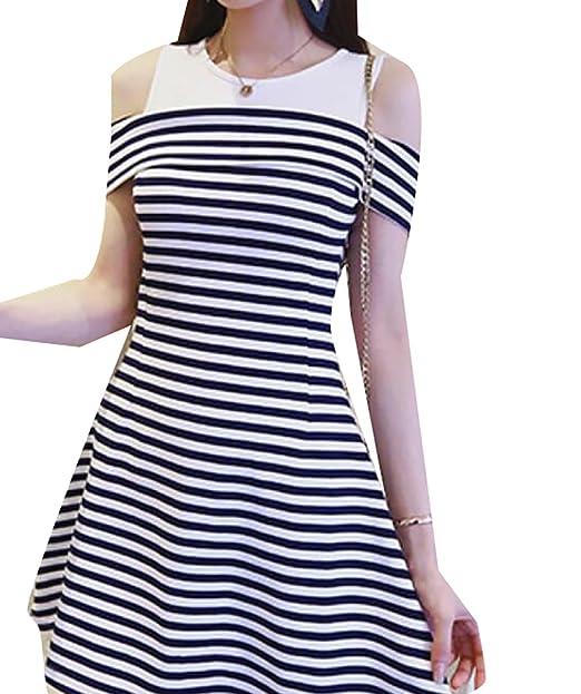 Womens Cold Shoulder Striped O Neck Slim Fit A Line Mini Dress