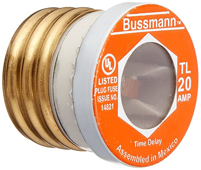 Bussmann BP/TL-20 20 Amp Time Delay, Loaded Link Edison Base Plug Fuse, 125V UL Listed Carded, 1 Blister pack of 3 fuses