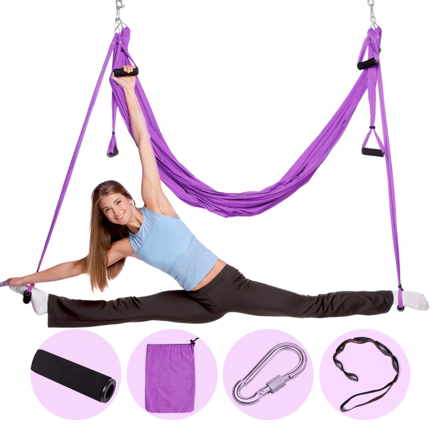 Nillygym Antigravity Yoga Swing for Yoga Inversion Exercise - Aerial Pro Yoga Hammock Set - Trapeze for Yoga - Sling for Yoga - Extension Straps - Ultra Strong