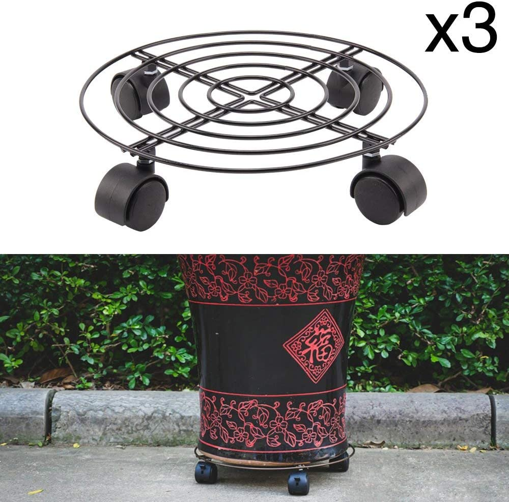 Homclo 3pcs Plant Caddy with Wheels Cast Iron Round Pot Trolley Garden Planter Transporter 10