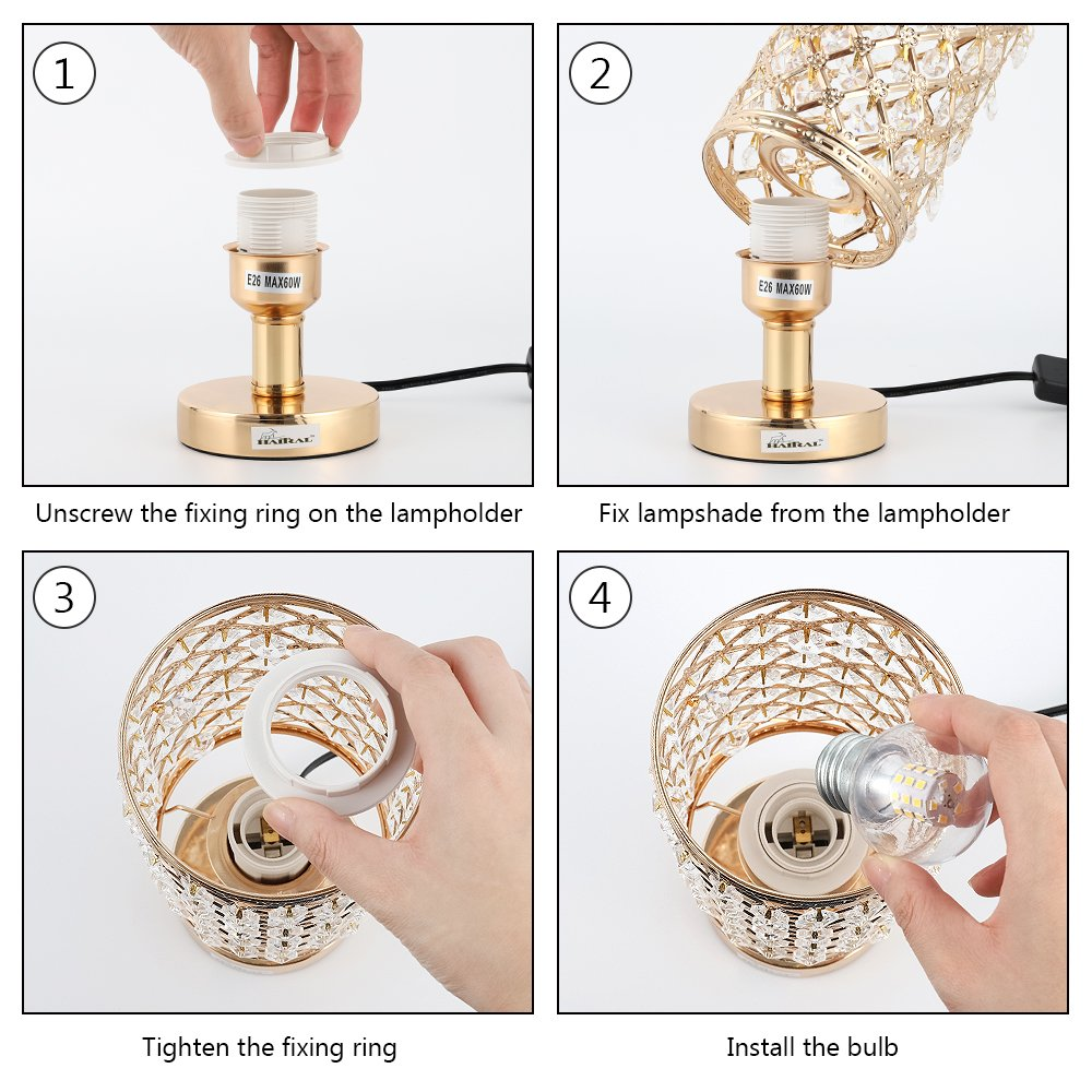 HAITRAL Crystal Bedside Table Lamps - Modern Gold Nightstand Desk Lamp with Beads Lampshade Metal Base Stylish Bedside Lamps for Bedroom, Living Room, Coffee, Dresser Table, Ideal Gifts (HT-BD017G)