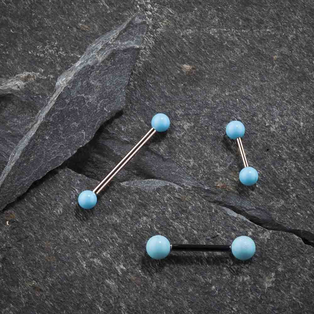 FreshTrends 14G 1//4 Simulated Turquoise 14K Rose Gold Straight Barbell Cartilage Tragus Piercing