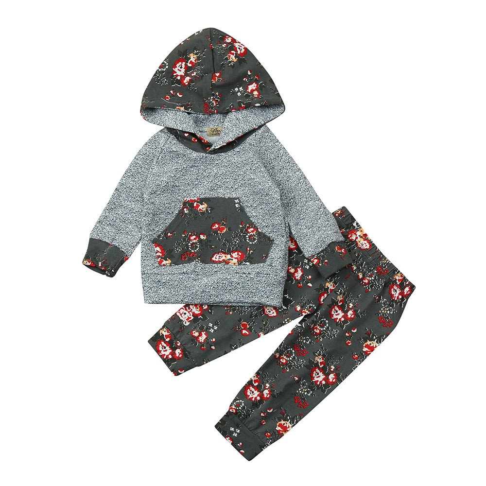 Newborn Baby Boy Girl Floral Long Sleeve Hoodie Tops Pants Clothes Set Outfits 2PCS KpopBaby GR20186666