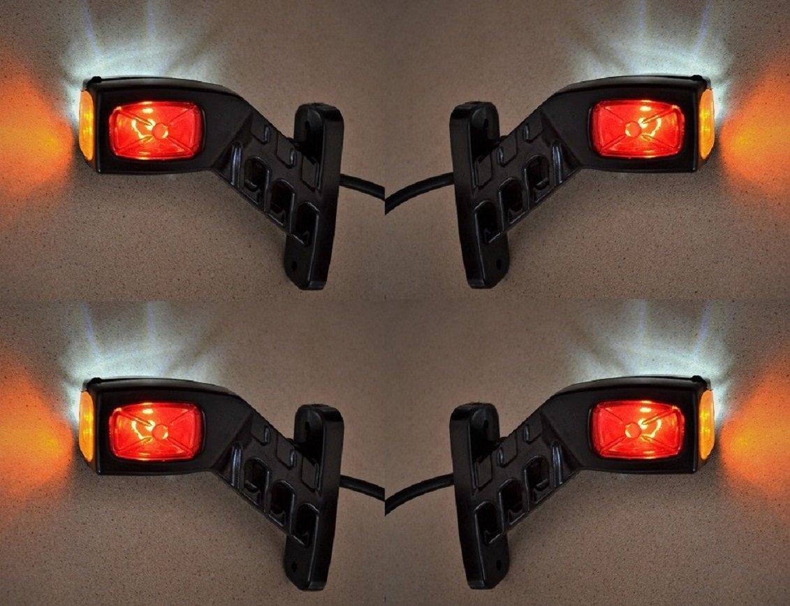 4/X 12/V//24/V c/ôt/é Outline Planche Extr/émit/é marqueur lumi/ères LED Socle basculant pour ch/âssis de camion remorque caravane Camper Rouge Blanc Orange