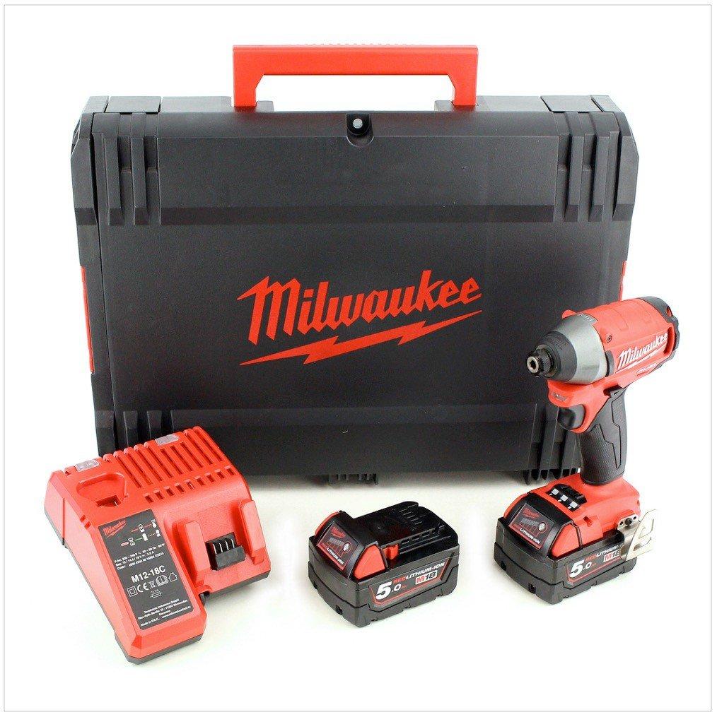 Koffer Lader Milwaukee M18 CID 502 X 18 V Akku Schlagschrauber mit 2x 5 Ah Akku