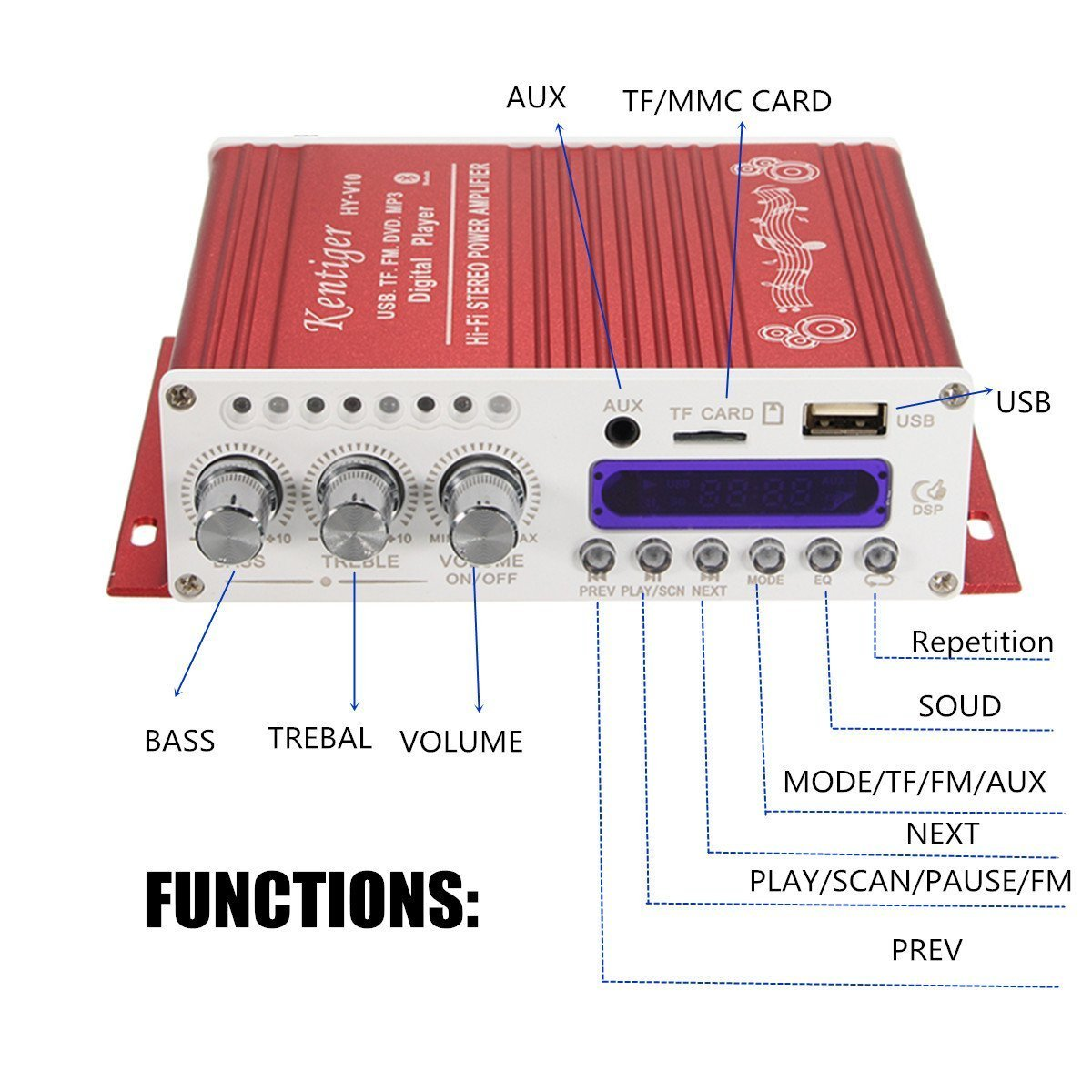 Wingoneer Mini Bluetooth Hi Fi Stereo Audio Amp Booster Amplifier Bass Mp4 12v Support Fm Mp3 Tf Usb Dvd For Car Motorcycle Auto Cd