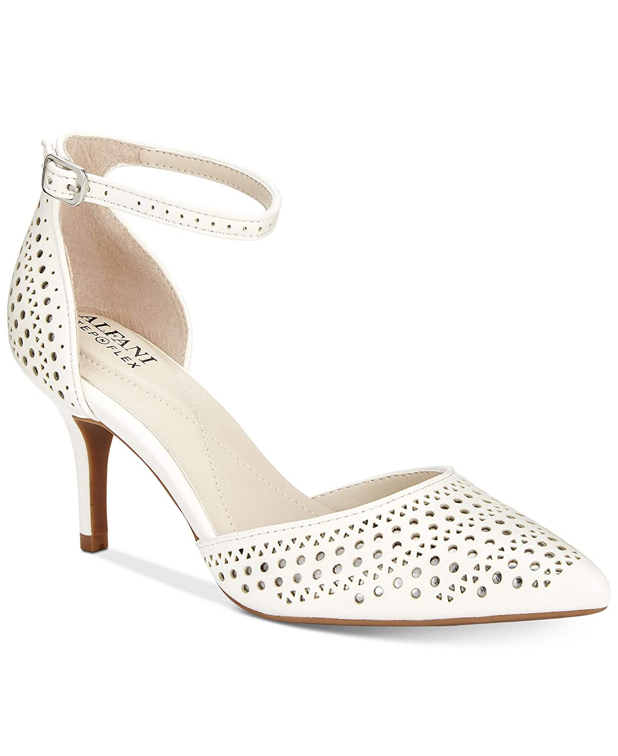 Cotton Pewter Alfani Womens Joyy Perforated Ankle Strap D'Orsay Heels