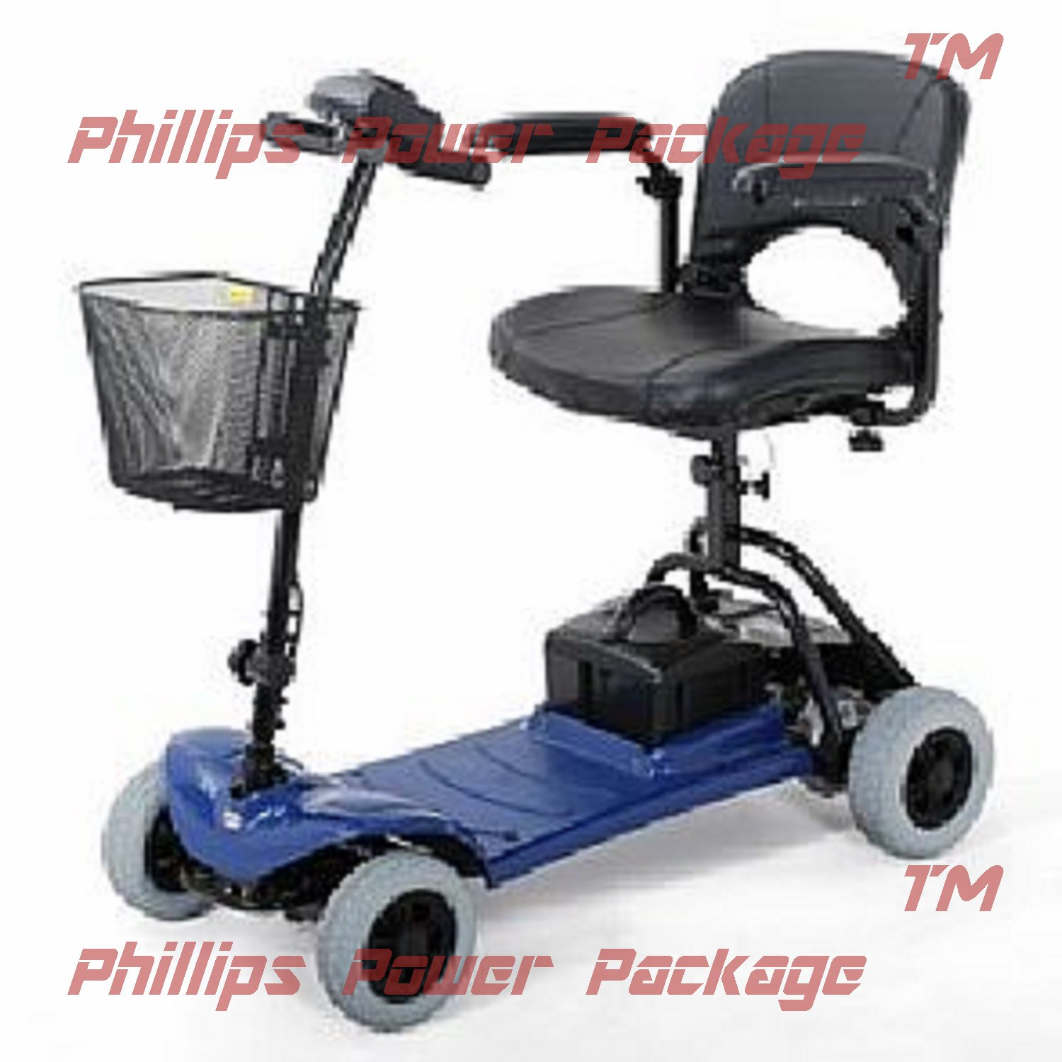 Merits Health Products - Roadster - 4-Wheel Scooter - 15''W x 15''D - Blue - PHILLIPS POWER PACKAGE TM - TO $500 VALUE