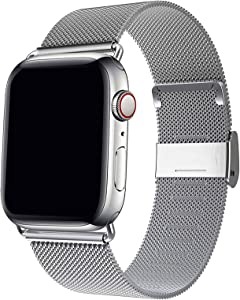 HenMerry Compatible for Apple Watch Band 42mm 44mm 38mm 40mm , Adjustable Stainless Steel Mesh Wristband Sport Loop for iWatch Series 1 2 3 4 5 (Silver, 38mm/40mm)