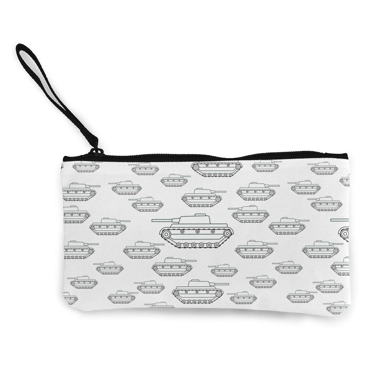 The Cartoon Contour Tanks Pattern Canvas Change Coin Purse Assorted Wallet Bag with Zip