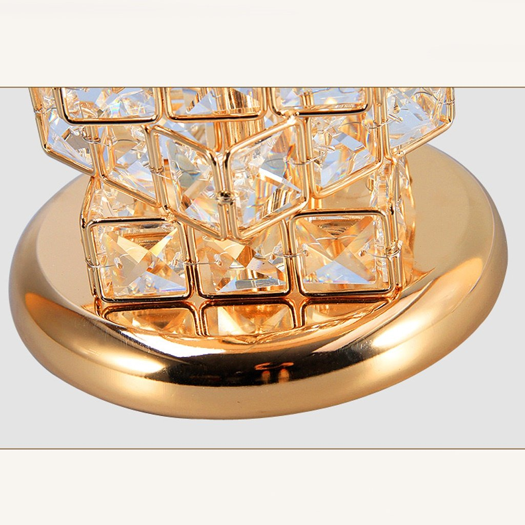 Table Lamp Coffee Table Lamp- 41cm Modern Bedroom Bedside Lamp Crystal European Luxury Wedding Table Lamp Creative Cube Warm Bedroom (Color : Gold) by Hyun times table lamp (Image #6)