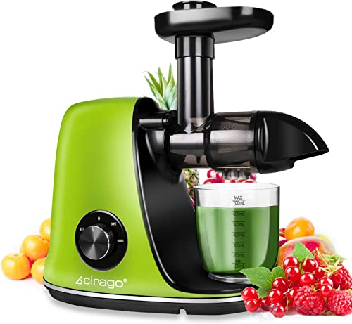 CIRAGO Juicer Machines, Slow Masticating Juicer Extractor Two Speed Adjustment, Easy to Clean, Quiet Motor, Cold Press Juicer for Vegetables and Fruits, BPA-Free Green