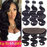 Amella Hair Brazilian Body Wave Frontal Free Part(18 20 22+16 Frontal)8A 100% Unprocessed Brazilian Body Wave Frontal with Baby Hair Natural Black Color