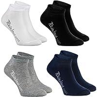 Rainbow Socks - Niños y Niñas - Calcetines Cortos de Algodón - 4 Pares - Blanco Gris Azul Negro - Talla 24-29