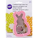 Wilton 2310-3708 Comfort Grip Bunny with Mini Flower Cookie Cutters, Set of 2