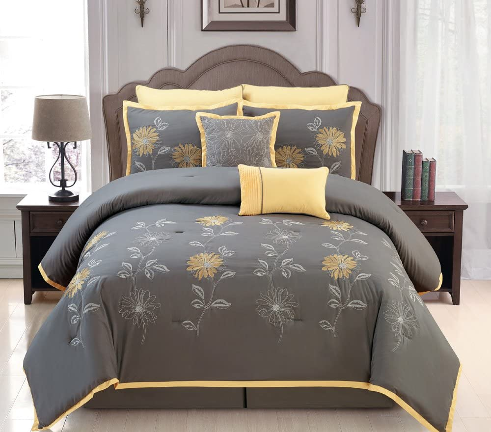 Yellow//Grey Renee Comforter Set Sunflower Embroidery Bed in A Bag California King Size Bedding