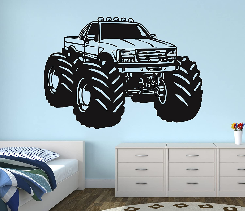 Race Monster Truck Wall Decal Nursery Art Kids Bedroom Decor Vinyl Playroom Sticker Mural West Mountain WM07 (48''W x 40''H)