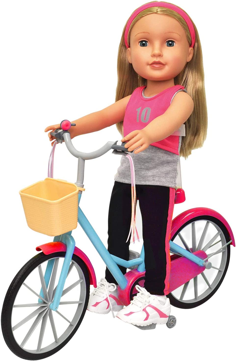 """Doll Bicycle - Bicycle with Streamers & Basket for 18"""" Dolls"""